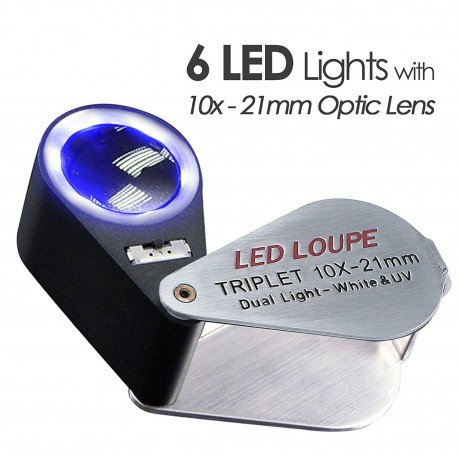 DIAMOND LOUPE TRIPLET WITH LED-UV LIGHT