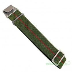 ELASTIC NYLON MILITARY STRAP GREEN (RED STRIPE)